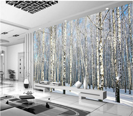 Wholesale photo print paper sizes - Custom Any Size Photo Background Wallpaper Winter Snow Birch Forest Art Wall Covering BedRoom Murals Modern WallPaper Home Decor