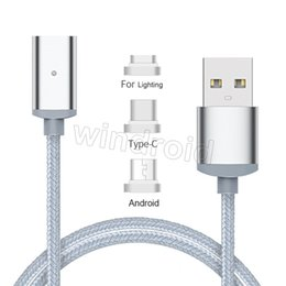 Wholesale Micro Magnetic - 3 in 1 1M Nylon magnetic data transmision line braided type c magnetic absorption cable for lightning Letv LG Android phone with retail box