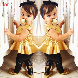 Wholesale Kids Leather Pants - Baby Girl Suit Pleated Shirt Dress Bowknot Leggings Pants Casual Short Sleeved Blouses 2 Pieces Sets Kids Leather Outfits Hot Sale SV006880
