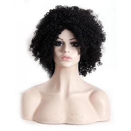 Wholesale African Curly Hair - Afro Kinky Curly hair wigs synthetic Heat Resistant wig 16inch black for African American women wigs
