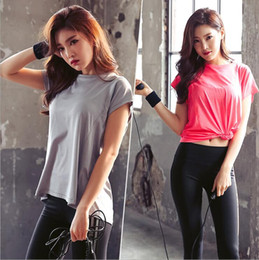 Wholesale Plain Shirts Women - Summer new product fitness speed dry T-shirt top plain and simple short sleeve women's sports smock