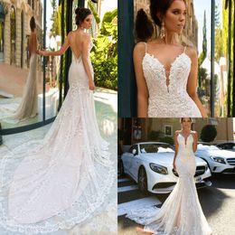 Wholesale Cheap Satin Long Skirt - 2017 Pallas Couture Vintage Lace Mermaid Wedding Dress Deep V-Neck Spaghetti Straps Lace Applique Court Train Cheap bridal dress