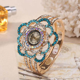 Wholesale Womens Bangles Watches - Xiniu Womens Flower Band Hollow Out Bangle Crystal Quartz Bracelet Watch Jewelry Charm Ladies Girl Clock Relogio Feminino Saat