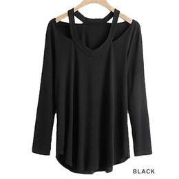 Wholesale Sexy Kleider - Wholesale- Women Top Ukraine Kleider Deep V Neck Backless Women T-Shirt Strap Sexy Halter Casual Tops Female All-match Long Sleeved T-shirt