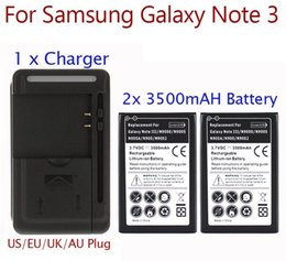 Wholesale Note High Capacity Battery - High Capacity 2x 3500mah Battery For Samsung Galaxy Note 3 Battery + USB Wall Charger for Note 3 III N9000 N9005 N900A Hot