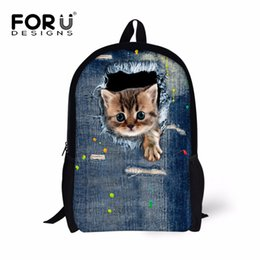 Wholesale Yellow Jeans For Boys - FORUDESIGNS Jeans Design Women Men Casual Backpack Denim Cat Ferret Printing School Backpack for Teenage Boys Girls Student Bag