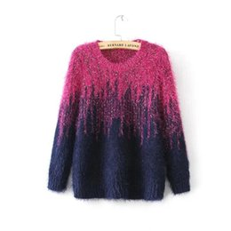 Wholesale Two Color Knit Sweater - Wholesale- Free shipping Autumn New Women Pullovers Two Color Gradient Color Mohair Sweaters Pullover O-Neck Thicken warm Knitted Sweaters