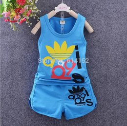 Wholesale Baby Tracksuits - summer new baby boys clothing set children clothing Football tracksuit vest t shirt+shorts 2pcs kids boy sport clothes sets