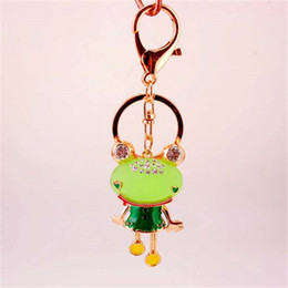 Wholesale Key Chain Frog - Frog Keychain Zinc Alloy Lovely Gold Metal Key Chains Opal Keychain Car Keyring Bag Earrings Accessories