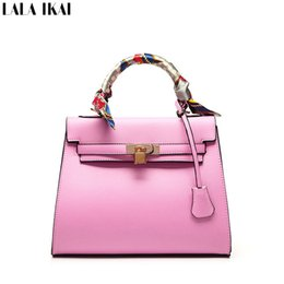 Wholesale Cream Ribbons - Wholesale- LALA IKAI New Spring 2016 Women Leather Handbags with Lock Lady Messenger Bags with Ribbons Elegant Lady Tote Bag BWC0273-5