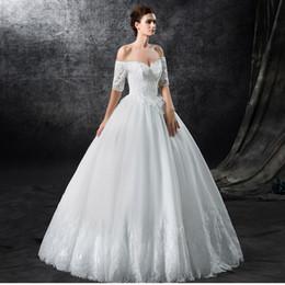 vestidos de boda blancos del vestido de bola de la alta calidad vcuello medio de la de la manga vestidos modernos nupciales moderno