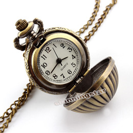 Wholesale Cute Pocket Watch Necklace - Wholesale-Cute Bronze Small Pumpkin Ball Pocket Watch with Necklace Pendant for Women and Men P67