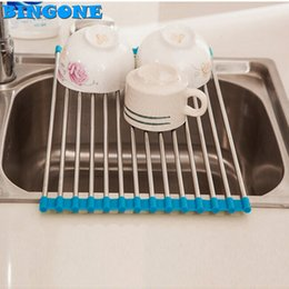 Wholesale Multifunctional Silicon - Folding Stainless Steel Silicon Handy Multifunctional Drainer Rack Holder Over Sink Drying Tray For Kitchen Tool