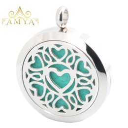 Wholesale Dog Tree - Heart Love Dog Trees Aromatherapy Essential Oil surgical Stainless Steel Perfume Diffuser Locket Necklace with chain and 10pcs Felt Pads