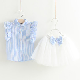 Wholesale Cute Babies Set - 2017 baby girl summer clothes sets infant toddler girl fly sleeve T-shirt+bowknot tutu skirt children korean style clothing