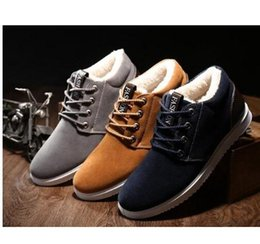Wholesale Short Boots For Men - Ankle boots for men waterproof 2017 short plush warm shoes cheap flat with snow boots suede 39-44 winter boots