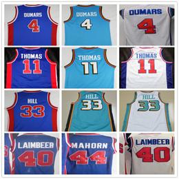 Wholesale Hill Mix - Cheap Mens Throwback 4 Joe Dumars 11 Isiah Thomas Jersey Blue White 33 Grant Hill 40 Bill Laimbeer Basketball Jerseys Mix Order