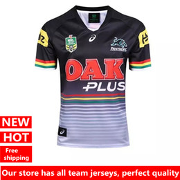 Wholesale Ripped T - Hot sales Penrith Panthers 2017 Home Jersey Rugby Jerseys t-shirt Men Jersey shirts size S-2XL free shipping
