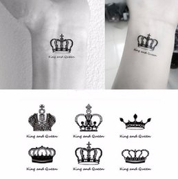Wholesale Option Points - Wholesale- 5 style options couple waterproof temporary tattoo, sexy black crown, five-pointed star design, body painting disposable tattoos