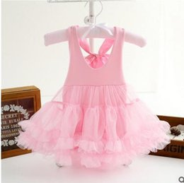 Wholesale Tutu Onesie - Baby girls princess jumpsuits toddler kids suspender bowsnot backless tulle dress girls V-collar onesie girls clothing G0467