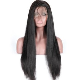Wholesale extra long lace wigs - Best quality natural black virgin brazilian human hair extra long 30inch front lace wigs fast delivery