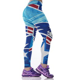 Wholesale Polyester Jeggings - Women Sporting Leggings England Patriots printing Jeggings Fitness Leggins Women Clothes Pant Elastic Christmas Trousers Femme
