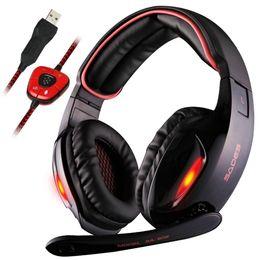 Wholesale Usb Surround Sound Headphones - Original Sades SA-902 Professional Gaming Headphones USB 7.1 Surround Sound Effect Noise isolation Headset With Microphone