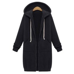 Wholesale Womens Long Hoodie Coats - 2017 Autumn Plus Size Womens Cardigan Long Hoodies Sweatshirt Hoody Coat Pockets Zip Up Outerwear Hoodies Clothes For Women Oversized Tops