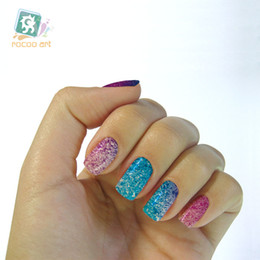 Wholesale nail patch foils - Wholesale- slider designs for nails nail art water decals adhesive foil Patch stickers for manicure Gradient Color Glitter decoration nails