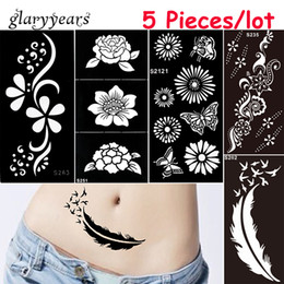 Wholesale tattoos lace designs - Wholesale-5 Pieces lot Medium Henna Stencil DIY Paste Hollow Drawing Flower Lace Design Henna Body Art Paint Tattoo Stencil Christmas Gift