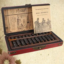 Wholesale Beads For Abacus - Wholesale- Vintage Chinese Wooden Bead Arithmetic Abacus With Box Classic Ancient Calculator Counting Collection Gift For Children Adult