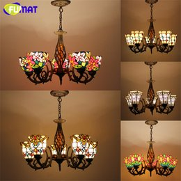 Wholesale Antique Glass Shade Lamp - Tiffany Pendant Lamp Antique Style Baroque Hollow Body Flower Stained Glass Shade Restaurant Suspension Lamp Hotel Project Lights