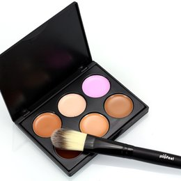 Wholesale Facial Moisturizers - 6 Colours Professional Facial Concealer Cream Foundation Makeup Camouflage Concealer Palette Face Concealer Cream CONTOUR with Makeup Brush