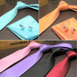 Wholesale Necktie Hanky Cuff - Neck Tie Cuff Links Handkerchief Set 15 Colors Men's necktie 145*8cm solid color NeckTie for Father's Day business tie gift