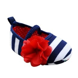 Wholesale first decor - Wholesale- Lovely Baby First Walkers Girls Infant Striped Flower Decor Soft Elastic Shoes 0-18M Prewalker