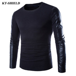 Wholesale Men Leather Sleeves Sweater - Wholesale- New Arrival Men Pullover Men Sweater High Quality PU Leather Slim Fit Male Sweater famous brand Fashion Man Sweaters Pull homme