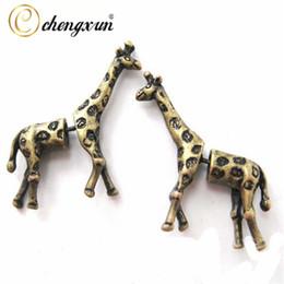 Wholesale Stripe Piercing - CHENGXUN Girls Children Lovely Post Stud Earrings 3D Long Stripe Giraffe Animal Ear Piercing Men Charms Jewelry Bohemian Style