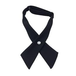 3 UNIDS Moda Mujer Hombre Ajustable Cruz Pajarita de Color Sólido Boda de Poliéster Estudiante Tie Girls Tie Negro desde fabricantes