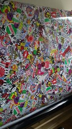 Wholesale Size Stickers For Motorcycles - Eurostyle Stickerbomb Vinyl WRAP JDM Sticker Bomb With Bubble Free real logos For Motorcycle Vehicle Wraps GRAPHICS SIZE 1.52X10M  20M  30M