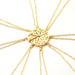 Wholesale Friendship Birthday Gifts - Wholesale-8pcs Pizza Cheese Pendant Necklaces Gold Silver Friendship Necklace Best Friends Forever Creative Keepsake Birthday Gift