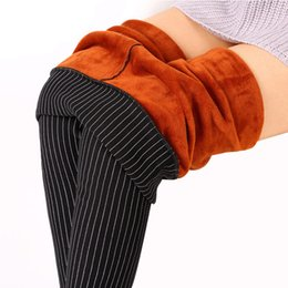 calças de veludo Desconto Atacado-Mulheres Inverno Legging Quente Plus Size Veludo Stripe leggings Preto Leggings Calzas Mujer Leggins Grosso Velo Sexy Cintura Alta