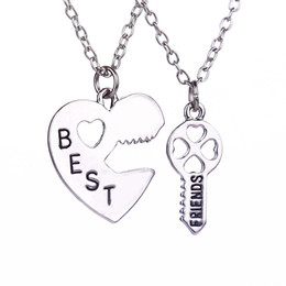 Wholesale Womens Silver Long Necklaces - Hot Sale Best Friends Necklaces Long Chain Key Inset Heart Necklaces Couple Friendship Necklace For Gifts Womens Necklaces