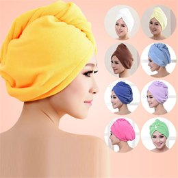 Wholesale Ladies Bath - Wholesale- New Microfiber Hair Wrap Towel Hat Turban Women Twist Quick Drying Dry Cap Ladies Plush Bath Spa Solid Free Shipping P102