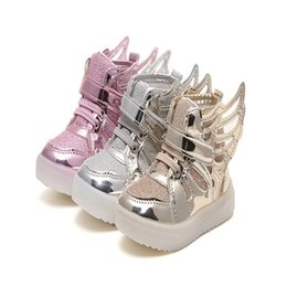 Wholesale girl princess shoes - Girls Led Shoes New Spring Autumn Wings Led Shoes Girls Princess Cute Shoes With Light Children Lighted Sneakers