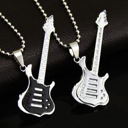 Wholesale Guitar Plate - Fashion 4 Colors Cool Guitar Pendant Necklace Titanium steel Music Guitar Necklace Fine Jewelry For music fans Wholesale
