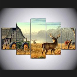Wholesale Seascape Abstract Oil Paintings - Whitetail Animal Deer,5 Pieces Home Decor HD Printed Modern Art Painting on Canvas (Unframed Framed)