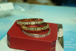 Wholesale full bar set - High quality full with CZ diamond Brand Love Screw H Bracelet Women cuff cater love bracelets Pulseira Feminina Masculin with original box