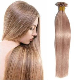 Wholesale Multi Color Hair Extensions - Multi Color U Tip Pre-bonded Human Hair Extensions Straight Glossy Crochet Hot Fusion Keratin Brazilian Indian Virgin Remy Human Hair 50g PC