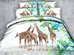 Wholesale Green King Size Bedding Sets - New Five Striped Giraffe 3D Printed Bedding Set Twin Full Queen King Size Duvet Cover Set Pillow Shams Comforter Bedspreads Green Bed Linens