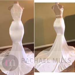 Wholesale Dress Back Designs Halter - Halter High Neck White Prom Dresses 2017 New Design Vintage Lace Top Mermaid Evening Party Gowns Backless Robe de Soiree Custom BA5189